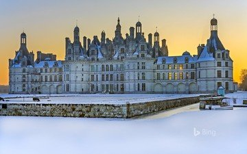 winter, castle, france, bing, chateau de chambord, chateau, chambord