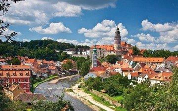trees, river, panorama, building, czech republic, vltava, cesky krumlov