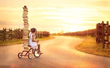 дорога, ситуация, книги, дети, девочка, ребенок, яблоко, велосипед, стопка, косички