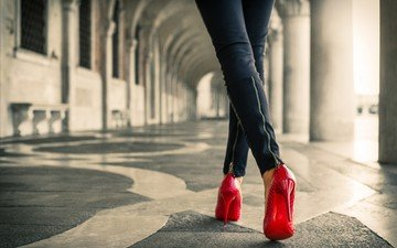 girl, jeans, legs, heels, shoes, red shoes