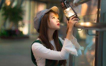 girl, mood, look, lantern, asian