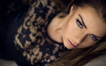 девушка, взгляд, волосы, губы, лицо, голубые глаза, ресницы, брови, katrine thyge jensen