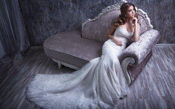 девушка, платье, диван, невеста, свадебное платье