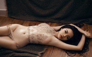 девушка, взгляд, модель, позирует, в белье