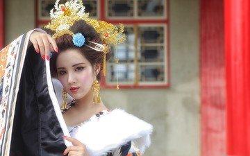 украшения, стиль, девушка, настроение, взгляд, азиатка