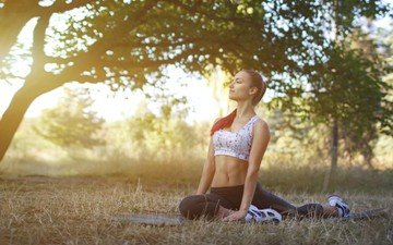 nature, tree, sunset, girl, pose, look, hair, face, sport, yoga