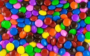 разноцветные, конфеты, сладкое, драже