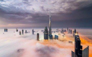 the sky, clouds, fog, skyscrapers, dubai, uae, burj khalifa