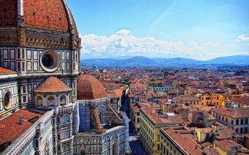 панорама, город, италия, архитектура, флоренция, собор санта-мария-дель-фьоре