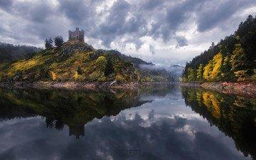 небо, деревья, река, отражение, осень, башня, франция, холм