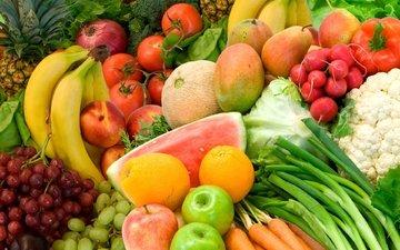 фрукты, клубника, овощи, продукты питания, вкусно, бананы, ананас