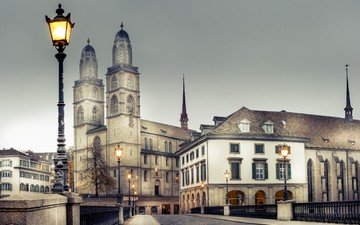 фонари, мост, город, швейцария, здания, ограда, цюрих