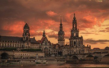 river, dawn, the city, palace, germany, dresden, elba