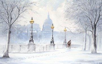 арт, фонари, снег, зима, люди, город, набережная, пара, живопись, jeff rowland, джефф роланд