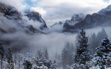 горы, зима, туман