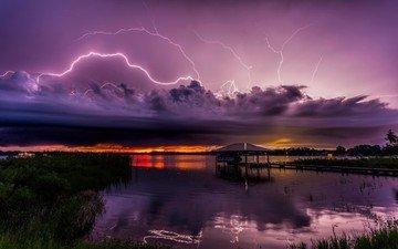 озеро, тучи, молния, молнии, гроза, стихия, флорида, непогода, штат флорида, озеро шарлотта, себринг
