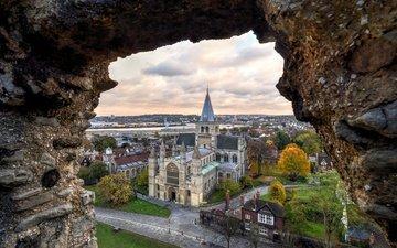 храм, вид, великобритания, дома, англия, кент, рочестерский собор, рочестер