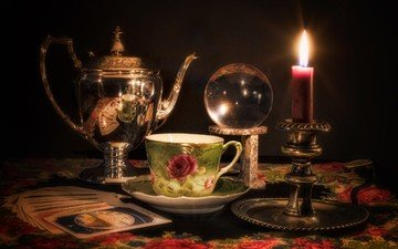 card, cup, candle, crystal ball, attributes, divination, ashka
