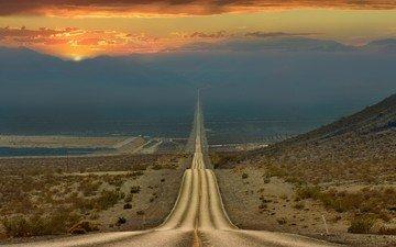 дорога, горы, природа, закат, пустыня, калифорния, долина смерти
