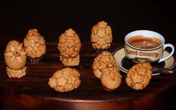 кофе, чашка, яйца, печенье, выпечка, пасхальное печенье