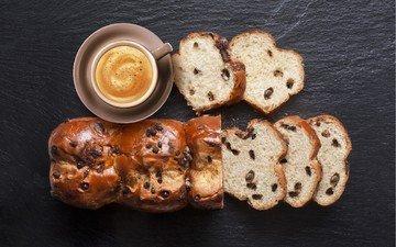 кофе, выпечка, кекс, булочка, сдоба, шоколадная крошка