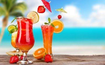 фон, лето, фрукты, клубника, ягоды, напитки, коктейли, стакан, бокалы, цитрусы, сок