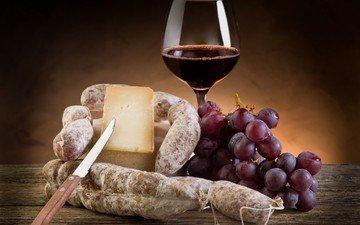 бокал, сыр, вино, нож, колбаса, натюрморт, салями, виноград.