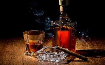 дым, лёд, тень, пепельница, стакан, бутылка, коньяк, сигара, натюрморт, виски