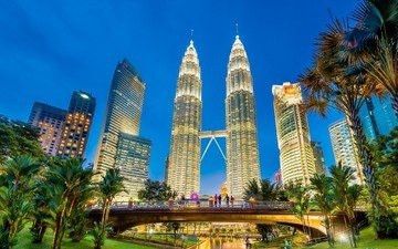 город, небоскребы, башни, здания, малайзия, куала-лумпур