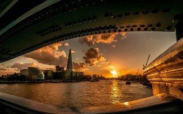 река, закат, мост, великобритания, лондон, темза, мэрия, великобритания. мост, гостиница шангри-ла