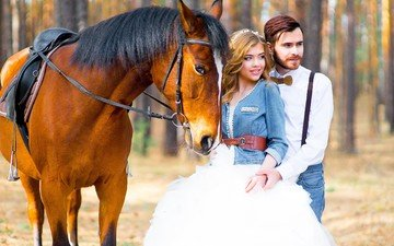 horse, girl, guy, pair, the groom, wedding, the bride, the couple