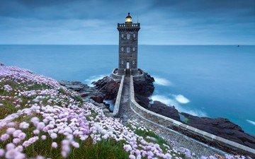 небо, цветы, скалы, берег, море, маяк, побережье