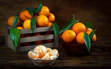 листья, фрукты, мандарин, мандарины, цитрусы, ящик