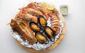 лимон, белый фон, морепродукты, креветки, мидии, омары