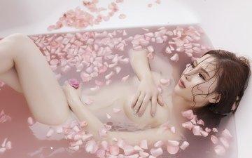 цветы, девушка, лепестки, модель, позирует, азиатка, ванна, обнаженная