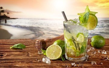 мята, пляж, лёд, лайм, коктейль, стакан, цитрусы, мохито