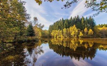 небо, озеро, река, лес