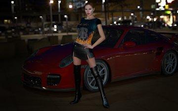 night, girl, machine, the city, red, hd, porsche