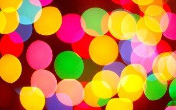 свет, огни, разноцветные, блики, круги, яркие, конфетти