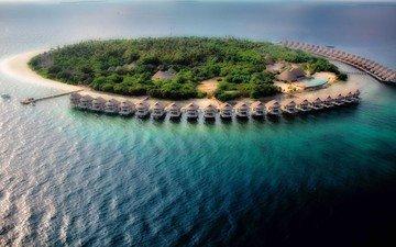 океан, остров, курорт, бунгало, мальдивы