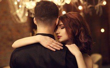 девушка, любовь, пара, мужчина, объятия, танцует, закрытые глаза