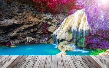 озеро, природа, мостик, пейзаж, парк, скала, водопад, тайланд, таиланд