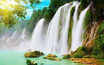 река, горы, зелень, пейзаж, водопад