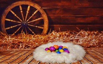 сено, пасха, яйца, гнездо, писанки