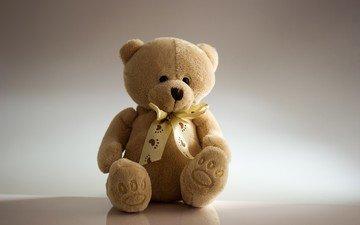 медведь, мишка, игрушка, сидит, плюшевый, бантик, медвежонок