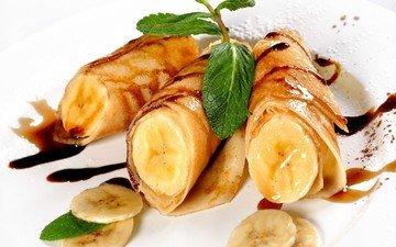 мята, шоколад, сладкое, десерт, блинчики, блины, бананы, соус