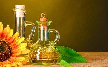 листья, цветок, стол, подсолнух, масло, бутылки