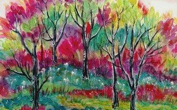 арт, деревья, природа, картина, краски, акварель