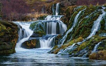 природа, водопад, долина, исландия