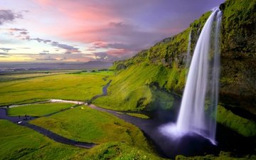 скалы, природа, зелень, водопад, исландия, селйяландсфосс
